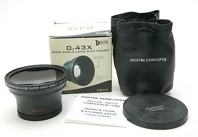 Digital Concepts 0.43x Professional Wide Angle Lens MC W/Macro HD 58mm Thread.