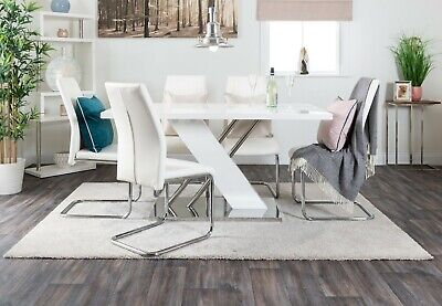 SORRENTO White High Gloss Chrome Dining Table Set Grey and 6 Leather Chairs Seat