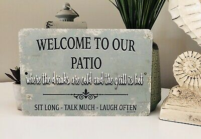 Outdoor Welcome Sign - New Welcome To Our Patio Sign - Home Decor- Outdoor Sign - Metal Sign