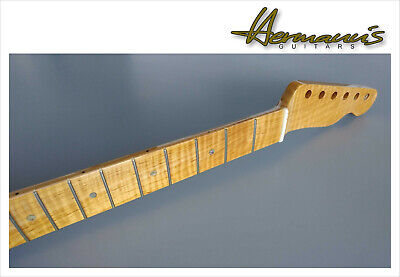 Telecaster one piece Roasted Flamed Maple Neck mit Abalon Dots, Best Quality...