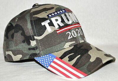 Trump 2020 Keep America Great Embroidered USA Flag Camo Adjustable Fit Hat Greats Adjustable Hat