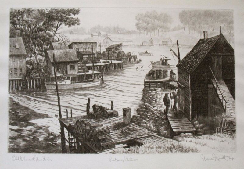 "Vintage Original Etching by Norman Merritt, ""Old Wharf, New Harbor"", Maine Boats"