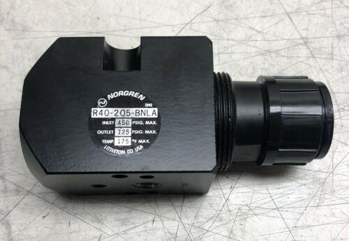 NORGREN R40-205-BNLA PRESSURE REGULATOR INLET 450 PSIG MAX OUTLET 125 PSIG MAX