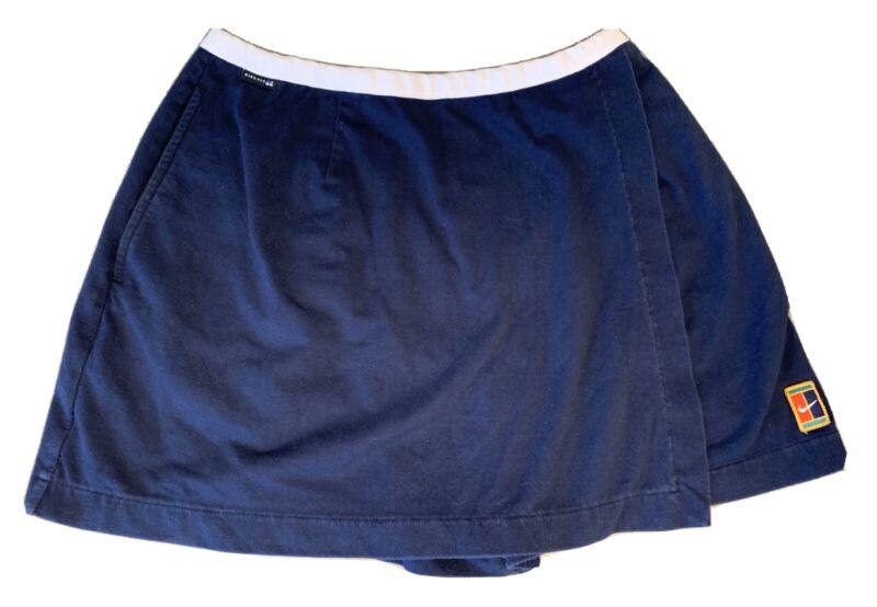 Vintage square tag Nike Fit Tennis Skirt Skort Navy Blue Size L 12-14 Fair cond