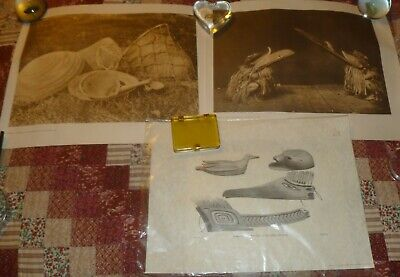 Lot/3 INDIAN PRINTS:  ARTICLES At NOOTKA SOUND, POMO SEED GATHERING & COSTUMES