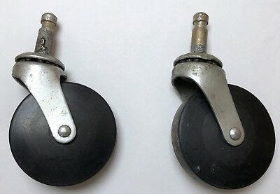 Vtg Industrial Commercial Steel Rubber Casters Cart Wheels Swivel Bearing 2 34