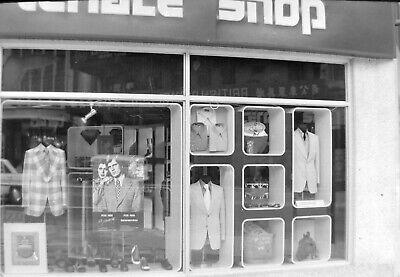 T799 Original 35mm photo NEGATIVE 1973 Hong Kong Terrace Shop mens clothing