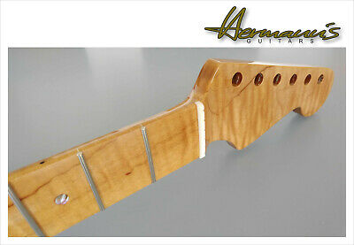 Strat Style One Piece Roasted Curly Flamed Maple Neck, Abalon Dots 22...