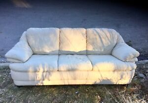 Curb Alert—leather couch, comfy, repaired cushion