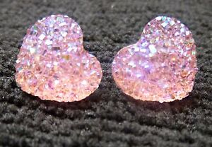 Small Sparkly Pink Ab Heart Crystal Diamante Diamond Stud Earrings