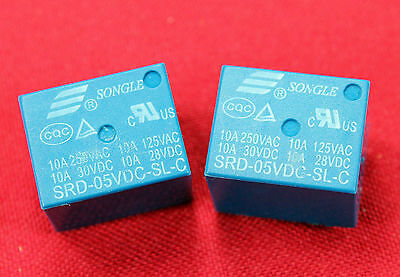 2pcs Mini 5v Dc Songle Power Relay Srd-05vdc-sl-c Pcb Type