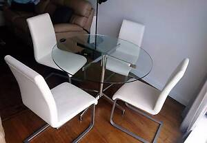 Freedom Round Glass Dining Table + Set of 4 White Leather Chais Glen Iris Boroondara Area Preview