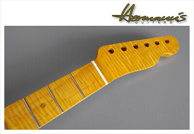 Tele Style one piece Roasted Flamed Maple Neck mit Abalon Dots, Best...