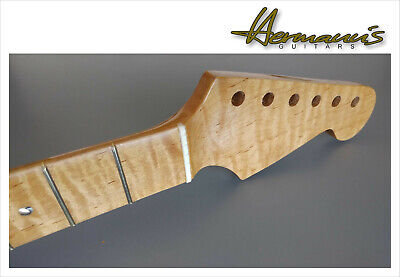 Strat Style One Piece Roasted Curly Flamed Maple Neck, Abalon Dots, 22...