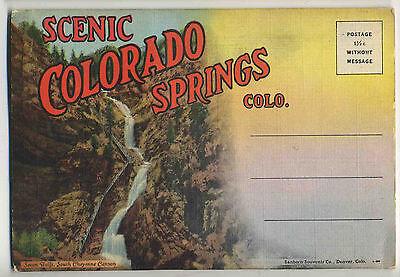Vintage 1940's Foldout Postcard View Book COLORADO SPRINGS, COLORADO Unposted