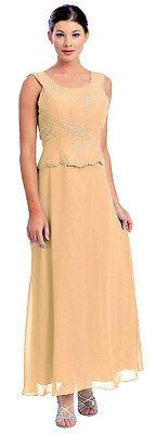 Abendkleid lang Brautmutterkleid elegant für Hochzeit Festkleid gold beige Gr.46