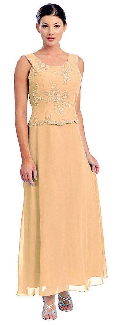 Abendkleid lang Brautmutterkleid elegant für Hochzeit Festkleid gold beige Gr.56
