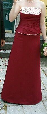 Braut / Hochzeitskleid, Zweiteiler, rot / weiß mit vielen Perlen (Gr. M; 38)