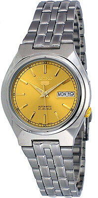 Seiko 5 Snk303 Mens Stainless Steel Gold Dial Day Date Automatic Watch