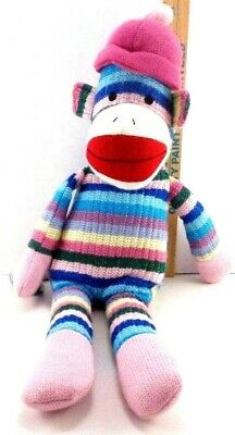 Rare Toysrus Rainbow Striped SOCK MONKEY Plush Knit Stuffed Toy 20