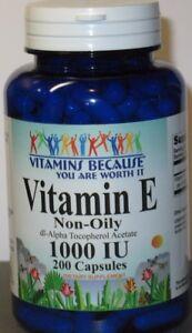 Vitamin E 1000 IU (non oily) Dl-Alpha Tocopheryl  200 Capsules
