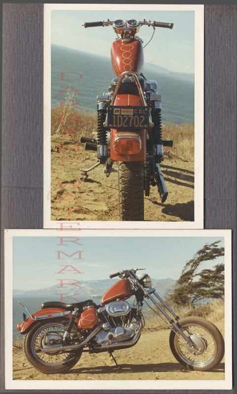 Vintage 1972 Photos View of Custom RED Harley Davidson Motorcycle 730380