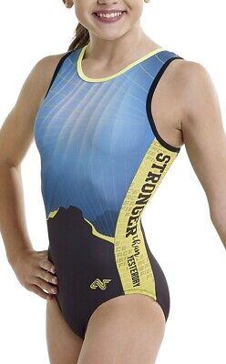 NWT GK Elite Gymnastics Long Sleeve Leotard Light Blue Torso w Dark Adult Small