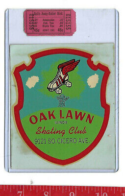 vintage lot roller rink decal Oak Lawn Illinois Skating Club & ticket