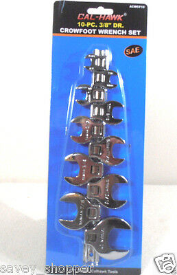 """10pc 3/8"""" Inch Drive Crowfoot Wrench Set SAE 3/8""""-1"""" CHROME PLATED"""