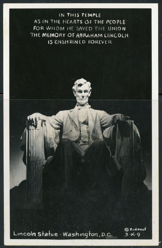 ABE LINCOLN STATUE IN THE LINCOLN  MEMORIAL  POSTCARD MINT