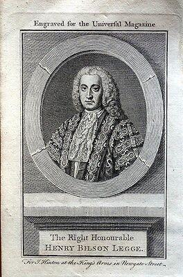 HENRY BILSON LEGGE  Original  Copper Engraved Antique Portrait Print 1759
