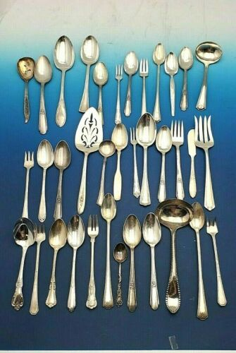 Mixed Lot of 36 Silverplate Flatware Pieces for Use of Crafts   #11945