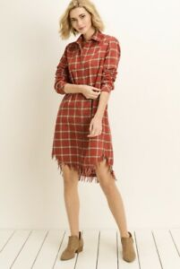 Bohemian Red Flannel Dress Plaid Top Free Peope Distressed Boho Style S M L