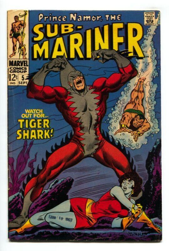 Sub-mariner #5 1968-marvel Comic 1st TIGER SHARK FN+