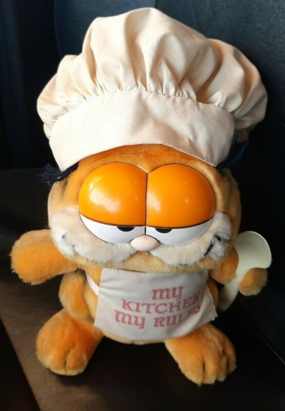 1981 Vintage Garfield the Cat Plush Chef Hat Apron Says My Kitchen My Rules