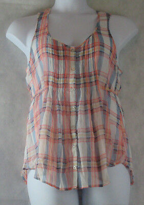 American Rag Juniors' Plaid Sleeveless Top, Egret Combo, Large L ()
