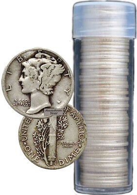 FULL DATES Roll of 50 $5 Face Value 90% Silver Mercury Dimes