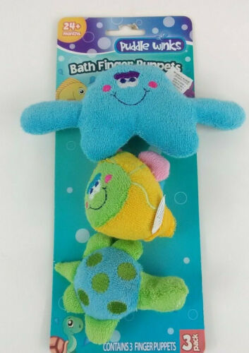 Puddle Winks Bath Finger Puppets Play Set, 3 Pack