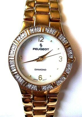 Peugeot Diamond Ladies Quartz Watch Gold Tone With Mother of Pearl Face