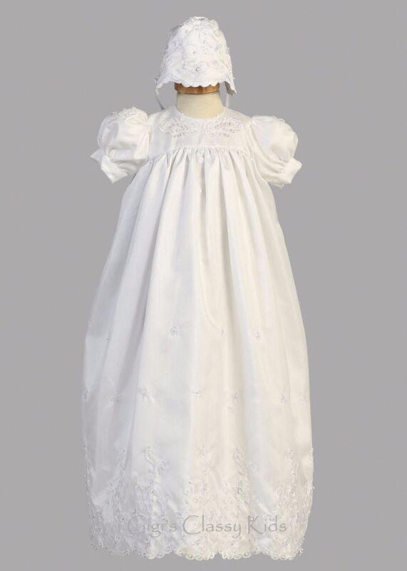 White Flower Baby Girls Shantung 2 Pc Long Dress Gown Christening Baptism Bonnet