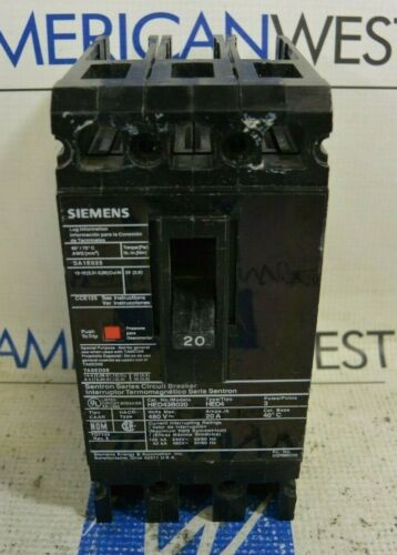 Siemens Hed43b020 3 Pole 20 Amp Circuit Breaker -tested-