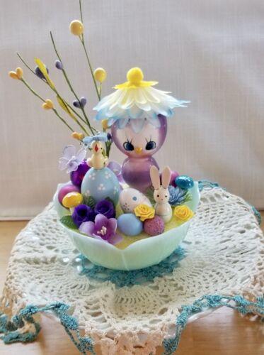 Vintage Easter Kitsch Decoration OOAK Ceramic Chick Egg Cup Bunny Egg Mushroom B