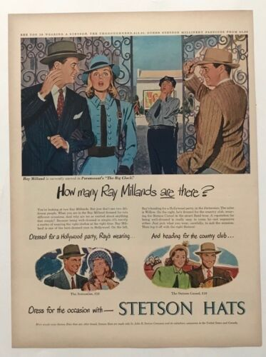 Vintage Original 1948 STETSON HATS Print Ad Advertisement - RAY MILLAND