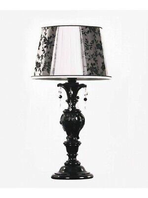 Lámpara de Mesa de Madera Negro Con Cristal Y Pantalla Tp 188-LG1-19