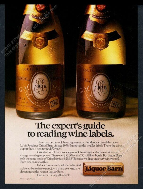1985 Cristal Brut Champagne 1979 bottle photo Liquor Barn vintage print ad