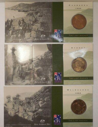 Royal Australian Mint- 1999- Sydney+Canberra+Melbourne- Unc $1 Mint Marked Coins
