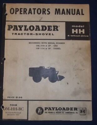 Payloader Hough Hh 4wd Wheel Loader Operator Maintenance Manual Book