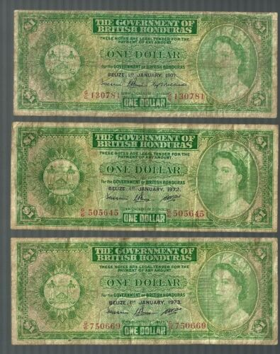 BRITISH HONDURAS 😱😱 1971 1972 1973 $1 X 3 banknote 😱😱 Collections & Lots