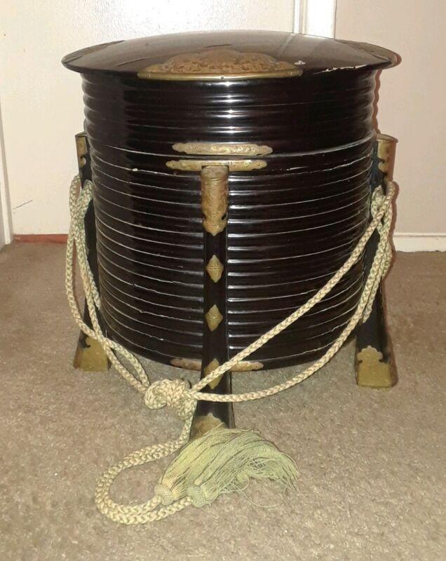 Japanese Meiji Period Black Lacquer Hokkai Picnic Basket Hat Box W Silk Cord