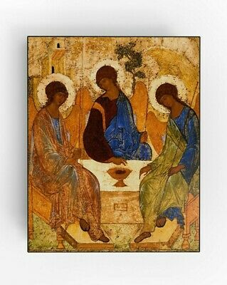 The Holy Trinity. Andrei Rublev. Religious Icon. Small.